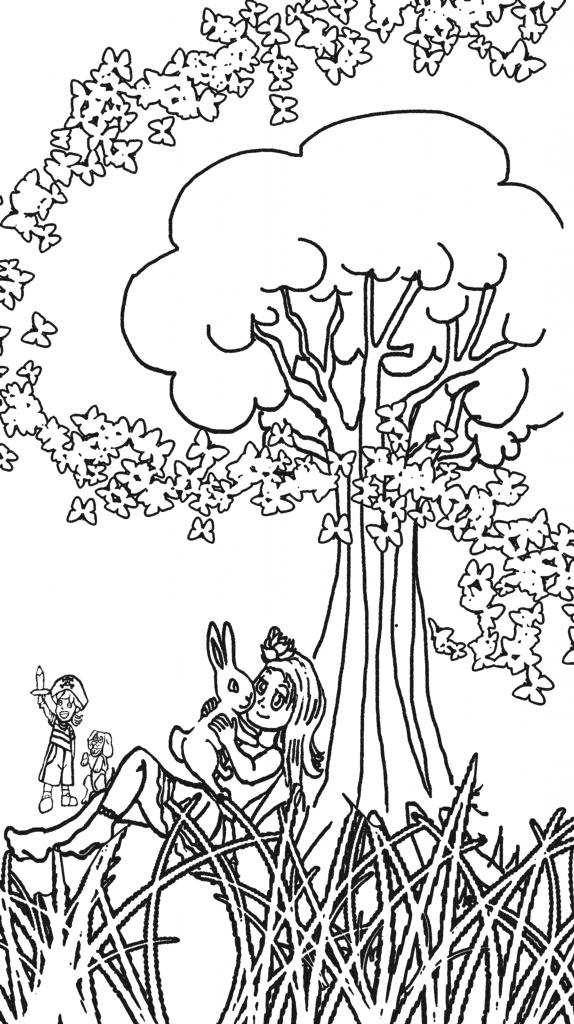dibujo chica con conejo bajo un arbol