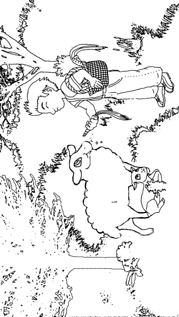 dibujo de niño con oveja