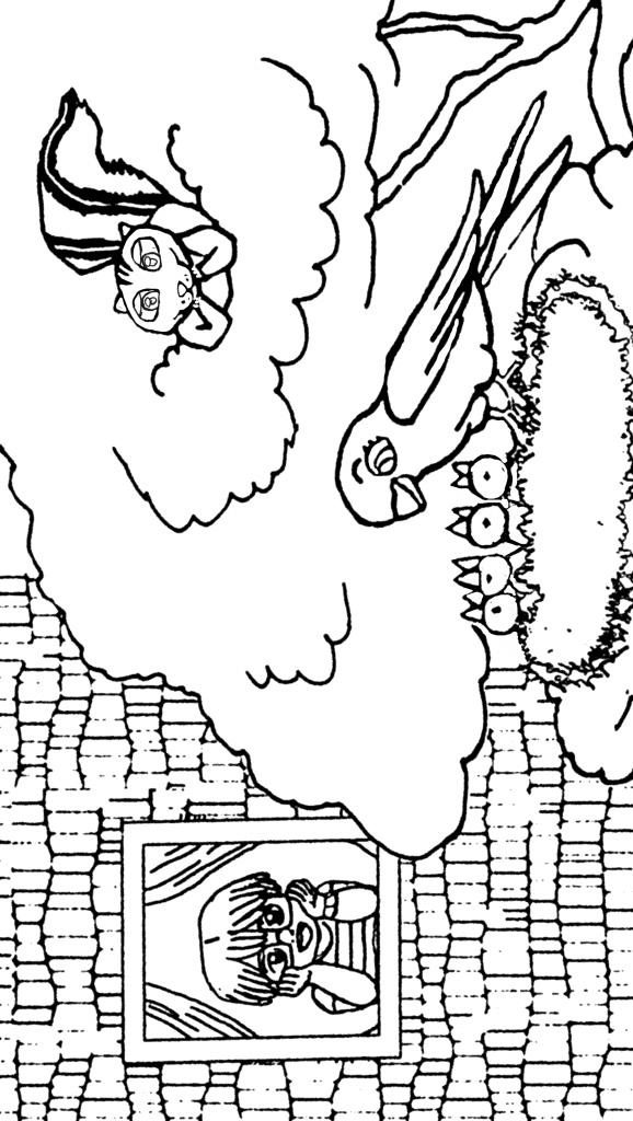 dibujo de un niño mirando por la ventana viendo una ardilla y un nido de pajaros