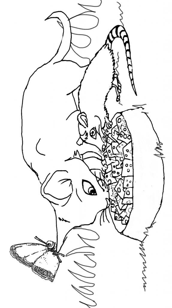 dibujo de rata con gato comiendo queso