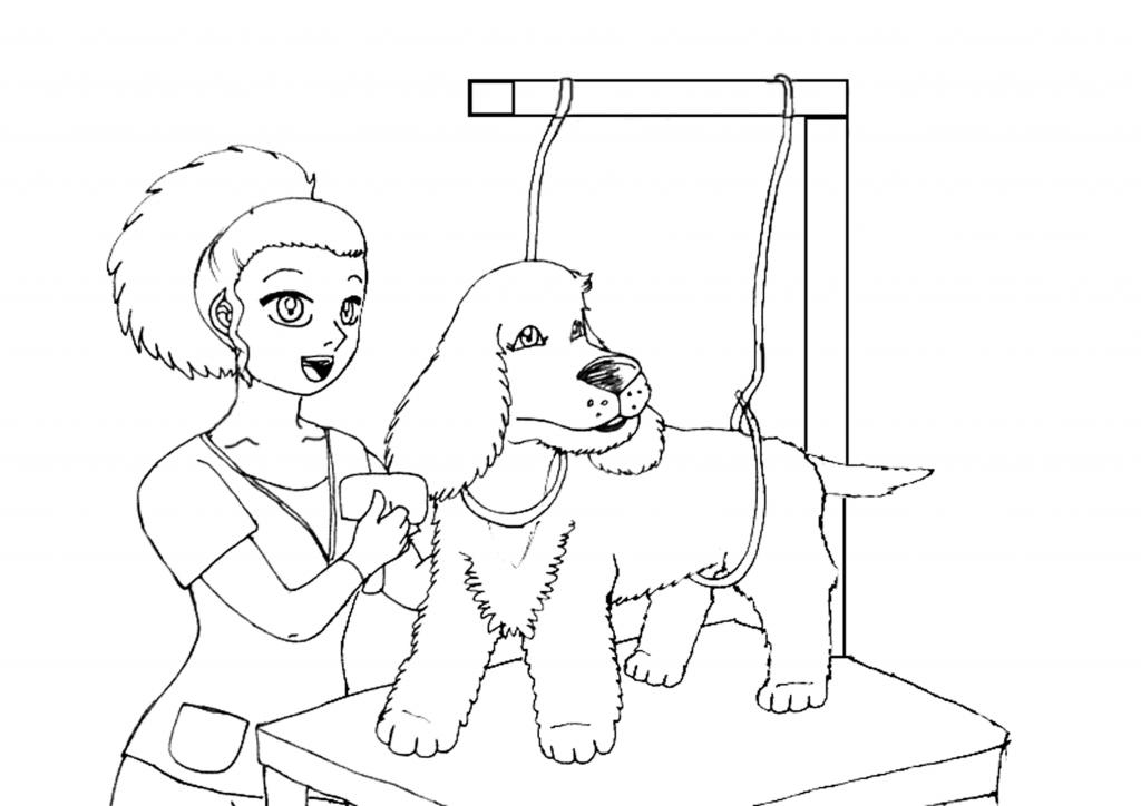 dibujo de peluquera canina con un cocker