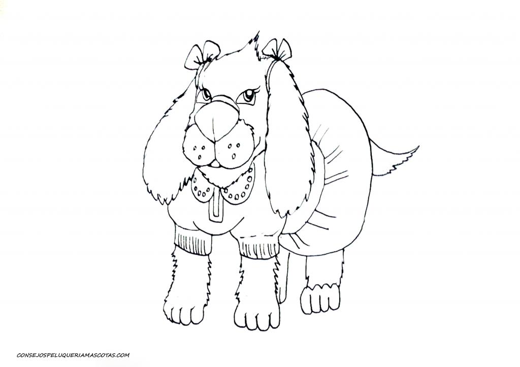 dibujo de un perro cocker con un vestido