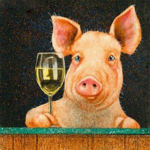 cuadro de cerdo con una copa en la pezuña