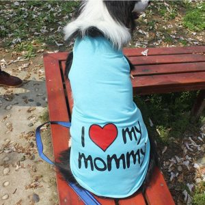 camiseta azul perro i love my mommy