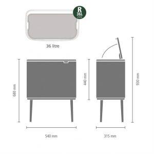 cubo de basura de diseño con medidas