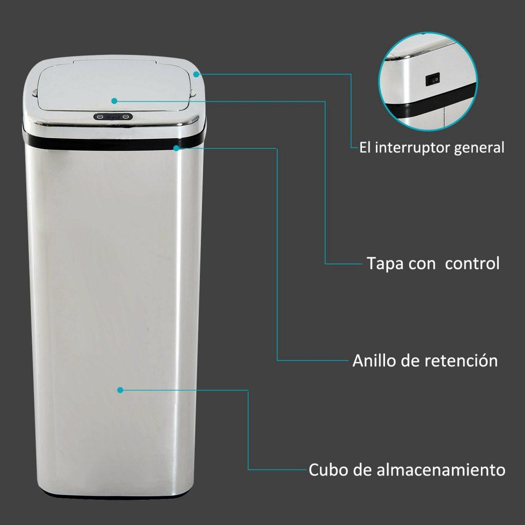 cubo de basura automático de color plateado alto y estrecho