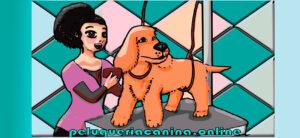 dibujo de mujer peinando perro en mesa de peluqueria
