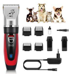 set de cortar pelo perros de color rojo con peines