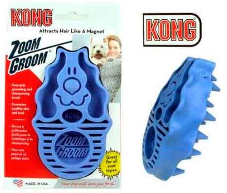 cepillo para quital pelo muerto suelto de color azul marca kong