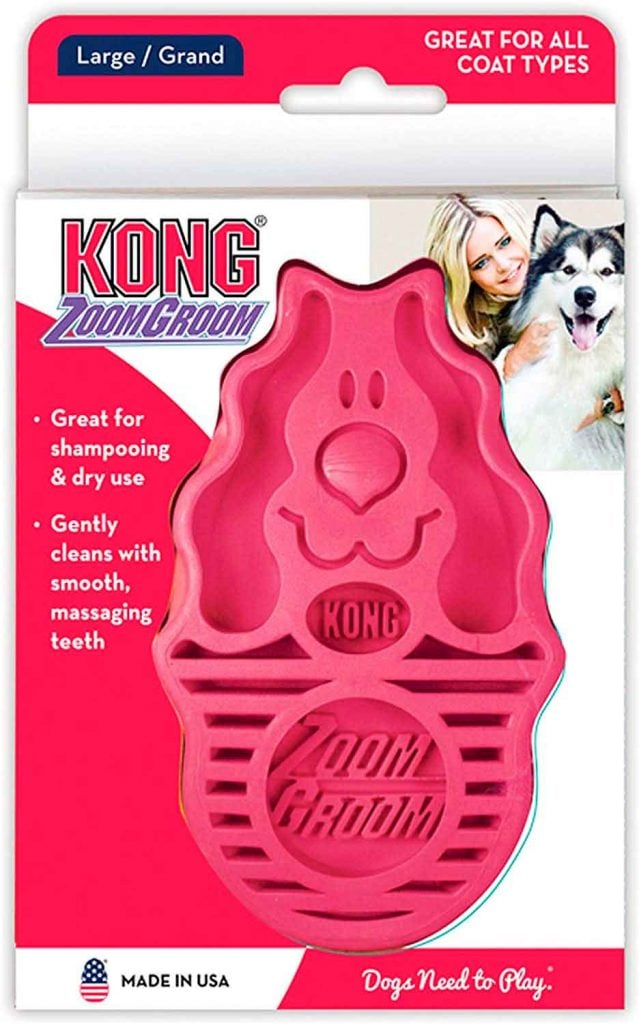 cepillo para el baño y pelo muerto para perro grande de color rosa marca zoom groom