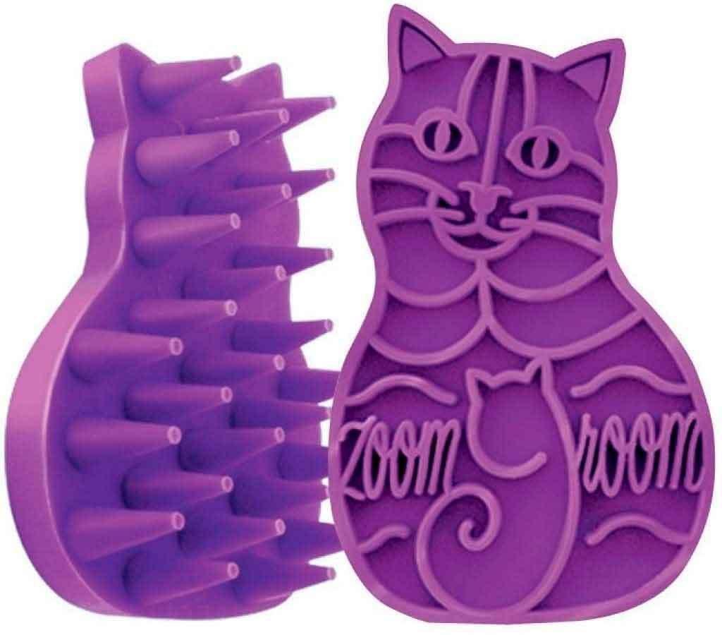 cepillo kong para gatos, quita pelo muerto de color lila