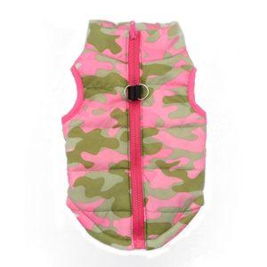 chaqueta para perros militar de color rosa y verde