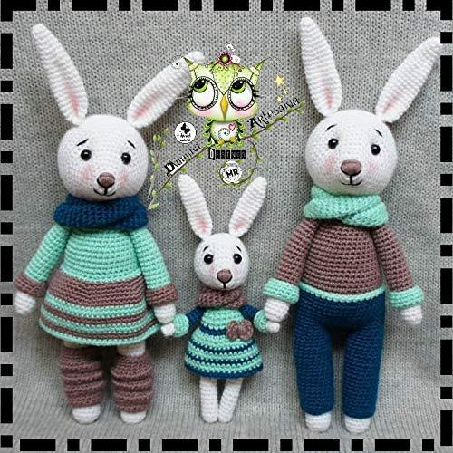conejos de peluche en crochet , familia de conejos amigurumi