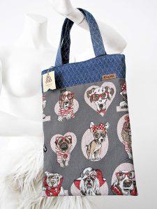 bolsa de tela  con perros y color gris
