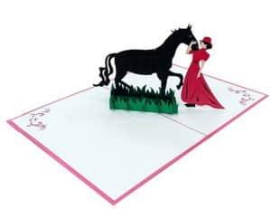 tarjeta con caballo y mujer
