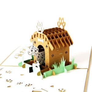 tarjeta de carton papercraft de casita de perro