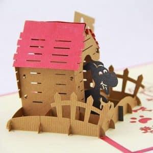 casita de perro en papercraft tarjeta