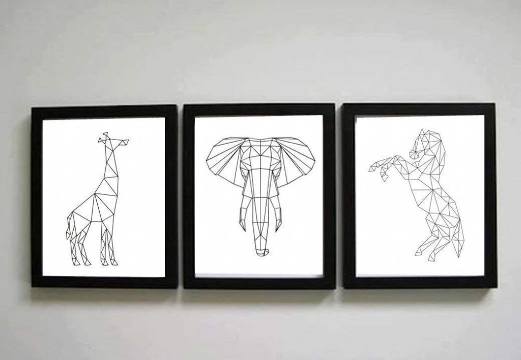 triptico de elefante jirafa y caballo geometrico