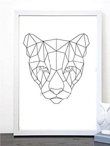 Cuadro con marco de puma geometrico blanco y negro