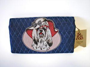 monedero tela tejana con perro shih tzu