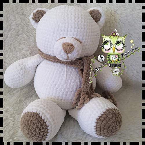 oso amoroso de lana blanco amigurumi