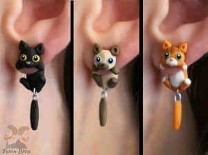 pendientes cuelga oreja de fimo de gatos