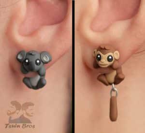 pendientes de fimo koala y mono