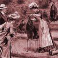 cuadro de peluquera canina peinando en la antiguedad