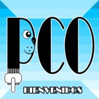 logotipo de peluqueria canina online, pco, dibujo de perro peinado con carda, en tono azul