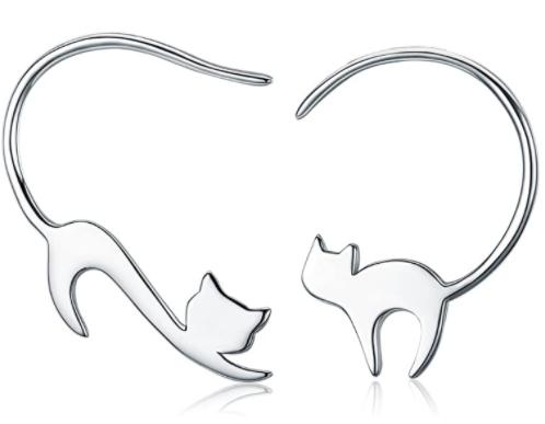pendientes de plata en forma de gato