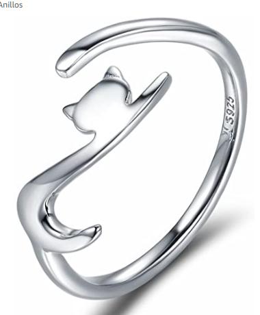 anillo en forma de gato de plata